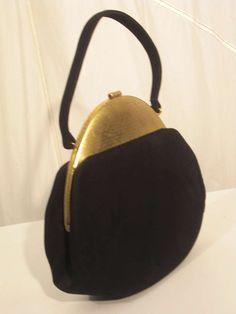 1940s Handbag Fashions | 1940s Koret Black Kid Suede Handbag with Metal Domed Closure image 2