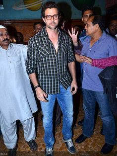 Hrithik Roshan in checkered shirt during Krrish 3 movie promotion, held at Gaiety cinema, in Mumbai, on  November 1, 2013.