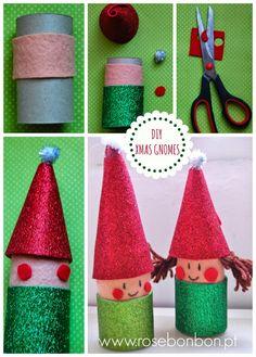 DIY santa and elf xmas crafts from toilet roles