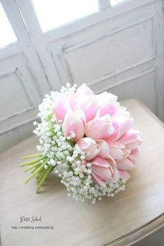 pretty tulips make a beautiful bouquet along with baby's breath.just maybe different colour tulips! Tulip Wedding, White Wedding Bouquets, Bride Bouquets, Wedding White, Wedding Colors, Greenery Bouquets, Wedding Reception, Gypsophila Bouquet, Gypsophila Wedding