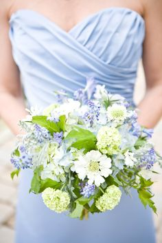 Blue Bridesmaids Bouquets with Hydrangea, Viburnum, Laced Artemisia and Muscari | Victoria Clausen Floral Events - Romance of Flowers https://www.theknot.com/marketplace/victoria-clausen-floral-events-romance-of-flowers-cockeysville-md-307059 | Muriel Silva Photography https://www.theknot.com/marketplace/muriel-silva-photography-annapolis-md-290109
