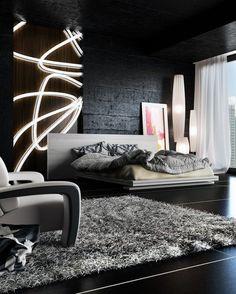 #blackwalls #blackinterior #bedroom   Awesome Bedroom Interior Design Ideas For Guys