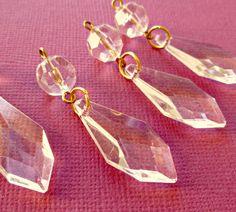 Vintage Lucite (Plastic) Clear Chandelier Drops (3-8B-6). $3.00, via Etsy.