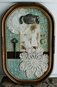 oak antique shadow box bubble frame - Could do this with my shadow boxes - doilies and pictures of my grandparents, etc Vintage Crafts, Vintage Decor, Antique Decor, Vintage Ideas, Antique Lace, Etsy Vintage, Vintage Art, Doily Art, Decoration Shabby