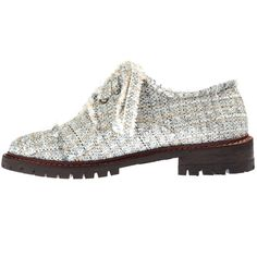Anouki Silver Sparkly Tweed Brogues (1.655 RON) ❤ liked on Polyvore featuring shoes, oxfords, flats, zapatos, silver, silver low heel shoes, silver oxfords, lace up oxfords, balmoral oxfords and silver sparkle shoes