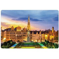 European Pet Mats for Food and Water by Lunarable, Brussels Citscape with Monument Belgium Avenue Medieval in Gothic Style Print, Rectangle Non-Slip Rubber Mat for Dogs and Cats, Multicolor * Read more reviews of the product by visiting the link on the image. (This is an affiliate link) #DogFeedingWateringSupplies