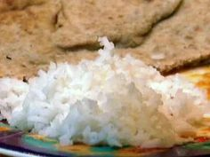 Simple Basmati Rice recipe from Aarti Sequeira via Food Network Rinse rice times. Soak in water 30 min. 1 c rice, c water, lg pinch salt. Bring to a full boil. Turn down low as can go, cover, cook 15 min. Let set 5 min. Basmati Rice Recipes, Rice Pilaf Recipe, Cooking Basmati Rice, Indian Food Recipes, Vegan Recipes, Cooking Recipes, Ethnic Recipes, Cooking Bacon, Chef Recipes