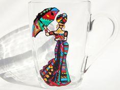 Lady Coffee Mug Stained Glass Mug Lady by StainedGlassHandmade