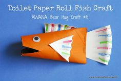 If you have been hanging around here, you know I am doing crafts for the Awana Cubbies group at my church. Today I bring you the Toilet Paper Roll Fish - Awana Bear Hug Craft. Kids Crafts, Summer Crafts, Crafts To Do, Preschool Crafts, Projects For Kids, Fish Paper Craft, Toilet Paper Roll Crafts, Paper Crafts, Crafty Kids