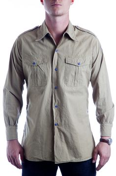 7th Cavalry Dry Goods Dutch Khaki Shirt With Cobalt Arrowheads Khaki Shirt e1230f37ead1