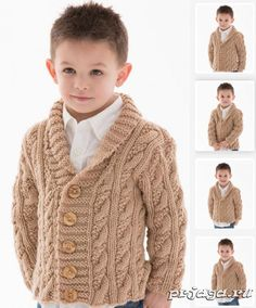 Cardigans for Children Knitting Patterns- Free knitting pattern for Little Man Cardigan - Alice Tang designed this stylish shawl-collared cable cardigan for Red Heart. Options for buttonholes on either side. Kids Knitting Patterns, Baby Sweater Knitting Pattern, Baby Boy Knitting, Knit Baby Sweaters, Knitting For Kids, Free Knitting, Knitting Needles, Cable Knit Cardigan, Man Cardigan