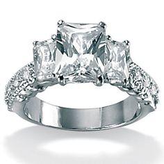$62.17 Palm Beach Jewelry Platinum/Silver Cubic Zirconia Emerald-Cut Ring