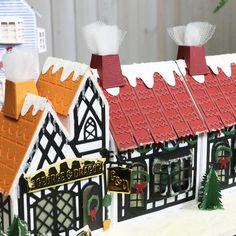Box Houses, Putz Houses, Paper Houses, Christmas Villages, Christmas Themes, Holiday Decor, Tonic Cards, Tudor House, Glitter Houses