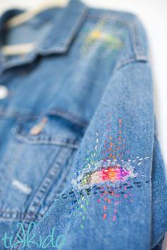 Easy Sashiko Japanese Visible Mending - New Ideas Sashiko Embroidery, Japanese Embroidery, Cross Stitch Embroidery, Hand Embroidery, Embroidery Designs, Flower Embroidery, Embroidered Flowers, Embroidery Needles, Visible Mending