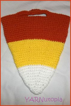 Handmade Crocheted Halloween Candy Corn Candy Bag by YARNutopia, $8.00