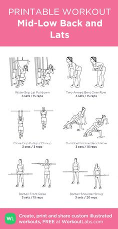 Mid-Low Back and Lats my visual workout created at Chest Workout Women, Gym Workout Plan For Women, Lat Workout, Workout Schedule, Fitness Style, Sport Fitness, Latissimus Training, Back And Shoulder Workout, Back And Bicep Workout