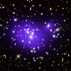 The Hubble Space Telescope image of the inner region of Abell 1689, an immense cluster of galaxies located 2.2 billion light-years away.   Dark matter cannot be photographed, but its distribution is shown in the blue overlay. The dark matter concentration and distribution is then used to better understand the nature of dark energy, a pressure that is accelerating the expansion of the universe.