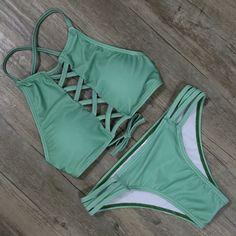 Sexy Push up Women Swimwear Bikinis Summer Beach Bathing Suit Swimsuit Beachwear Padded Bikini Set Summer Suits, Summer Wear, Summer Time, Cute Bathing Suits, Cute Swimsuits, Fashion Swimsuits, Black Bikini, Green Bikini, Bikini Swimwear