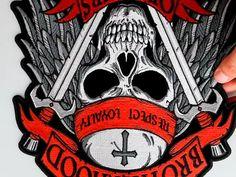 Brotherhood of Bikers Respect and Loyalty Skull Large Biker Back Patch Biker Back Patches, Biker Wear, Leather Vest, Bikers, Loyalty, Respect, Black And Grey, Skull, Skulls