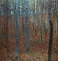 Художник - Густав Климт, картина «Буковый лес»