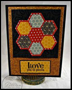 hand crafted qquilt card: Corkboard Hexagons (A Jillian Vance Design) ... hexagon flower ... deep rich autumn colors ... like it!