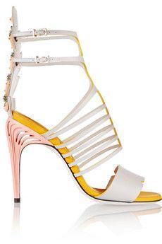 Fendi Embellished leather sandals   NET-A-PORTER