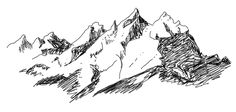 The sketch of the main portion of the Grand Teton mountain range, which inspired my tattoo.