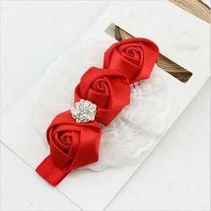 New edition Baby Girl Toddler Elastic Headbands Rose Flower Crystal