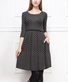 Look what I found on #zulily! Black Lattice A-Line Dress #zulilyfinds