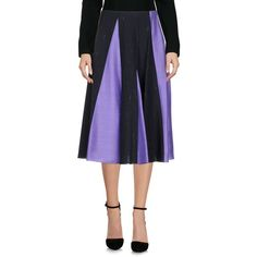 Jil Sander Navy 3/4 Length Skirt (18.530 RUB) ❤ liked on Polyvore featuring skirts, purple, stretchy skirts, knee length pleated skirt, flared pleated skirt, jil sander navy and knee length flared skirts