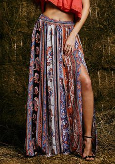 Bohemian Floral Print Fitted Long Skirt