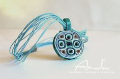 Textile necklace turquoise statement by AudraTextileStudio on Etsy