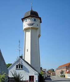 Smiling Water Tower, Sakskobing, Denmark