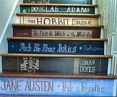 Staircase Book Stickers - Make your staircase look like a library. Could be fun as children's books leading up to a play room
