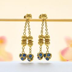 18k Yellow Gold Blue Sapphire Twin Dangling Drop Stud Earrings