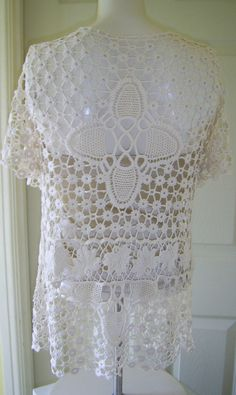 Crocheted  Cream lace Vintage short sleeved Jacket by PinkPicot, £15.00 #pcfteam