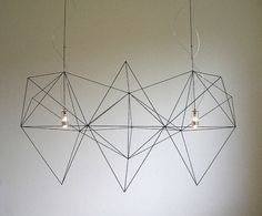 Wire geometric lamp by Nathalie Dewez Interior Lighting, Home Lighting, Modern Lighting, Lighting Design, Pendant Lighting, Industrial Chandelier, Wire Pendant Light, Wire Chandelier, Modern Chandelier