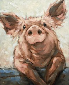 Pig painting, Original impressionistic oil painting of a pig. 8x10 on panel, pig artwork, farm animals This painting is fresh off the easel. It will