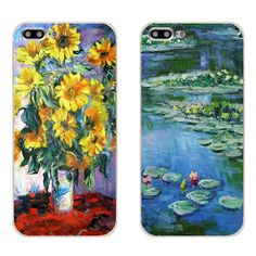 """For Apple iPhone 7 Plus Phone Case 5 5C SE Shell 4.7"""" 6 6S 5.5 Inch Transparent Cover Soft Silicon Monet Garden Pattern Skin"""