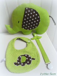 Elephant set - bib, toy & dummy clip