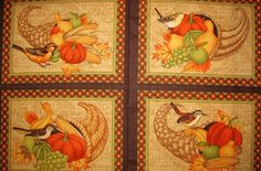 Debbie Mumm Great Harvest Cornucopia Fruit Bird Autumn Fabric Placemats PANEL  | eBay