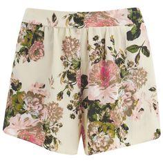 VILA Women's Flourish Spring Shorts - Pristine (23 BRL) ❤ liked on Polyvore featuring shorts, bottoms, short, pants, white, elastic waistband shorts, loose short shorts, elastic waist shorts, short shorts and white shorts