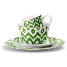Green Ikat Dinnerware - eclectic - dinnerware - C. Eclectic Dinnerware, Green Dinnerware, Dinnerware Ideas, Hygge, Asian Interior, Tabletop Shop, Color Of The Year, Tea Cup Saucer, Color Azul