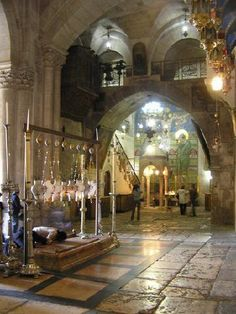 Jerusalem: The Church of the Holy Sepulchre, also called the Church of the Resurrection by Eastern Christians, is a church within the walled Old City of Jerusalem. On the left is the Stone of Unction where it is said Jesus' body was laid to prepare for burial