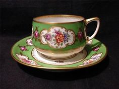 Ambrosius Lamm Dresden Saxony 1915 mark floral rose cup and saucer set gold gilt in Pottery & Glass | eBay
