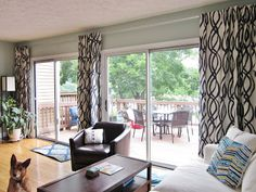 Cover Your Big Windows Using Extra Long Curtain Rods: decorating living room with home furniture and curtain design also extra long curtain rods and sliding glass door Extra Long Curtain Rods, Cheap Curtain Rods, Extra Long Curtains, Large Curtains, Cheap Curtains, Diy Curtains, Curtain Poles, Homemade Curtains, Roman Curtains