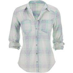 maurices Boyfriend Shirt In Bleach Wash Plaid