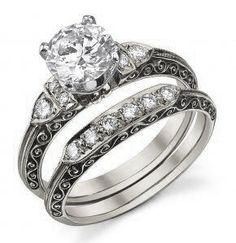 Diamond and White Gold Engagement and Wedding Ring