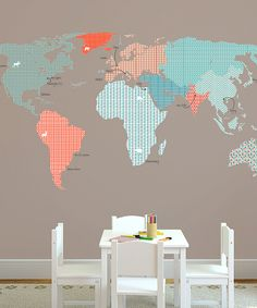 Patterned World Map Textstyle Wall Art | Daily deals for moms, babies and kids