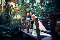 Bride and Groom at Crowne Plaza San Diego Hanalei. Beautiful scenery in the heart of San Diego.